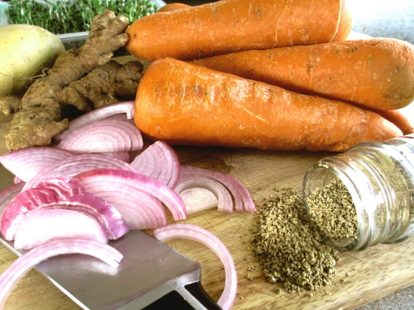 raw ingredients for making carrot and coriander soup