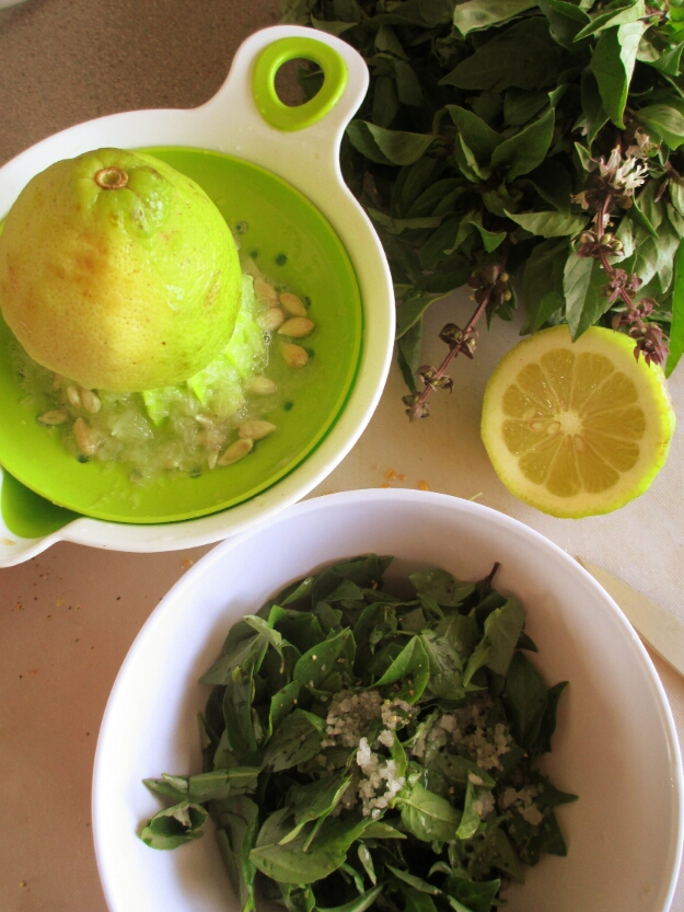 fresh basil and lemon for a fresh basil dressing recipe