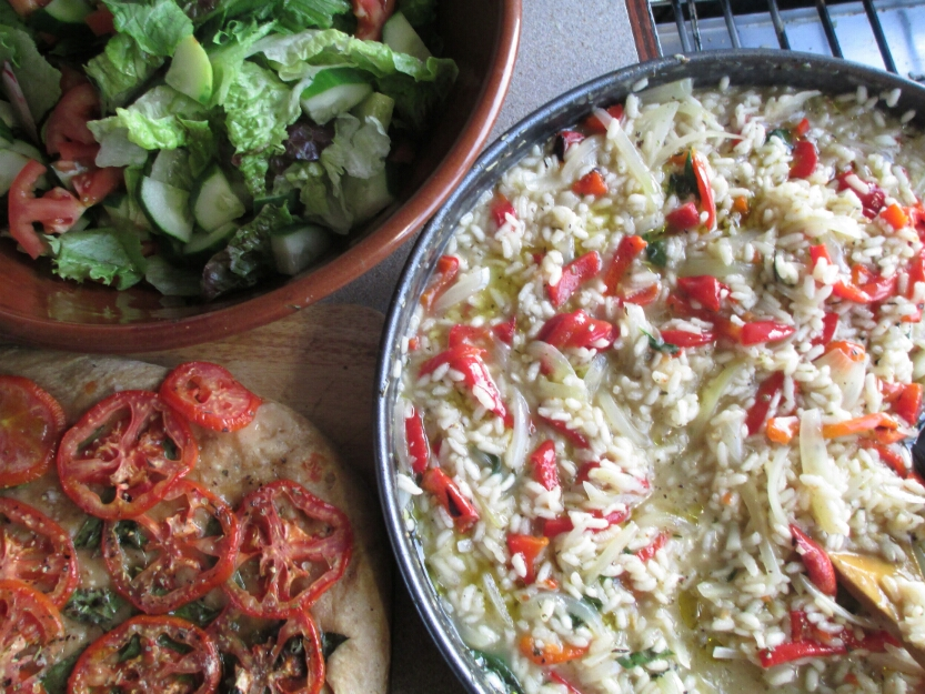 vegan roasted red pepper risotto, tomato foccacia served with vegan risotto