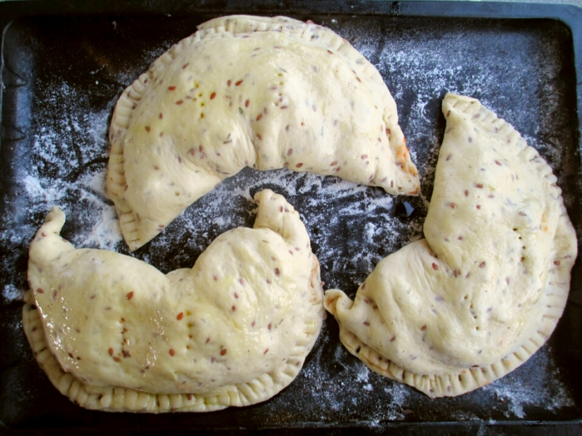 vegan calzoni, vegan calzone before baking