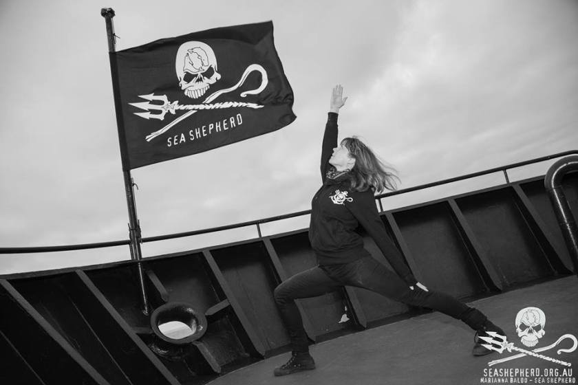 anna greer warrior pose yoga on bow of MY bob barker, Sea Shepherd