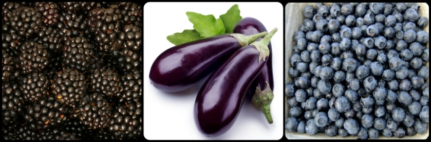 aubergine, blackberries and blueberries, purple foods for healthy living