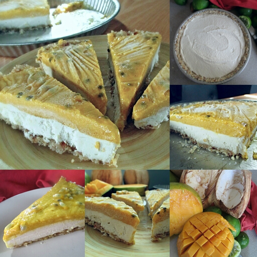collage of raw mango coconut pie with passionfruit topping