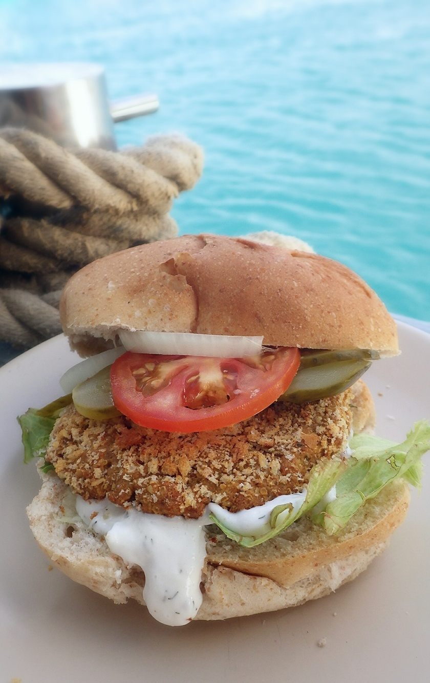meat free vegan chickenless burger, made with ground almonds, gluten flour and chickpeas