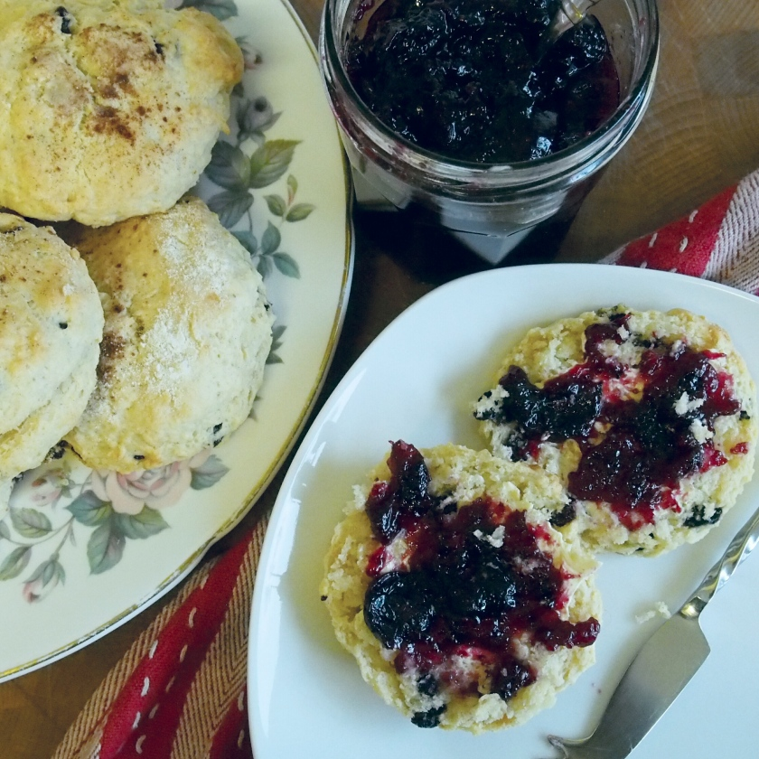 vegan scones with homemade blueberry jam