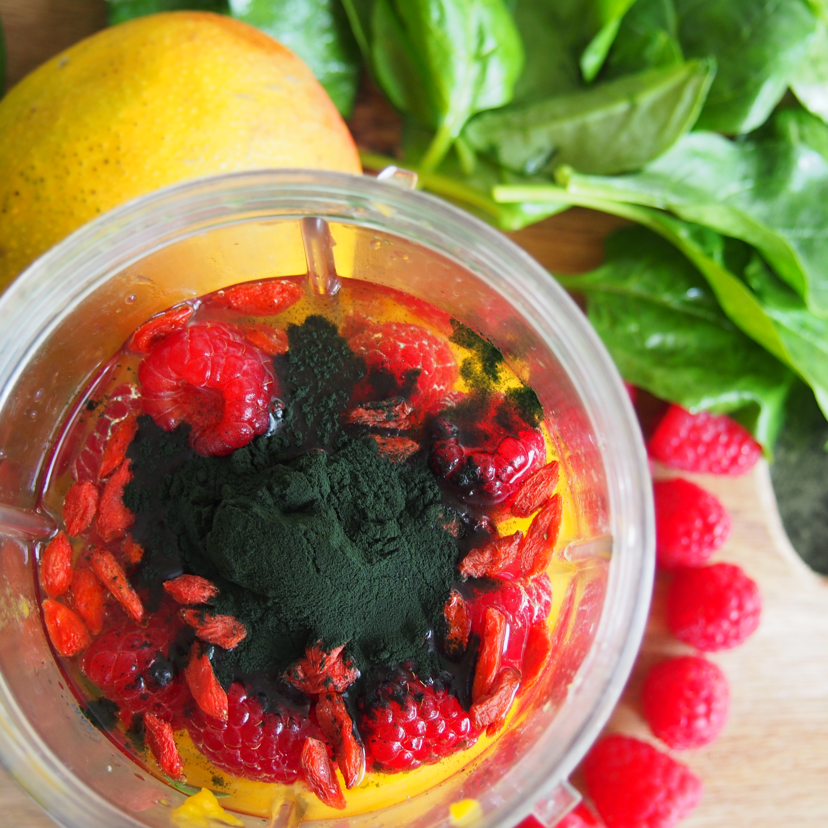 Mango Raspberry Smoothie with Spirulina | The Grumpy Sailor