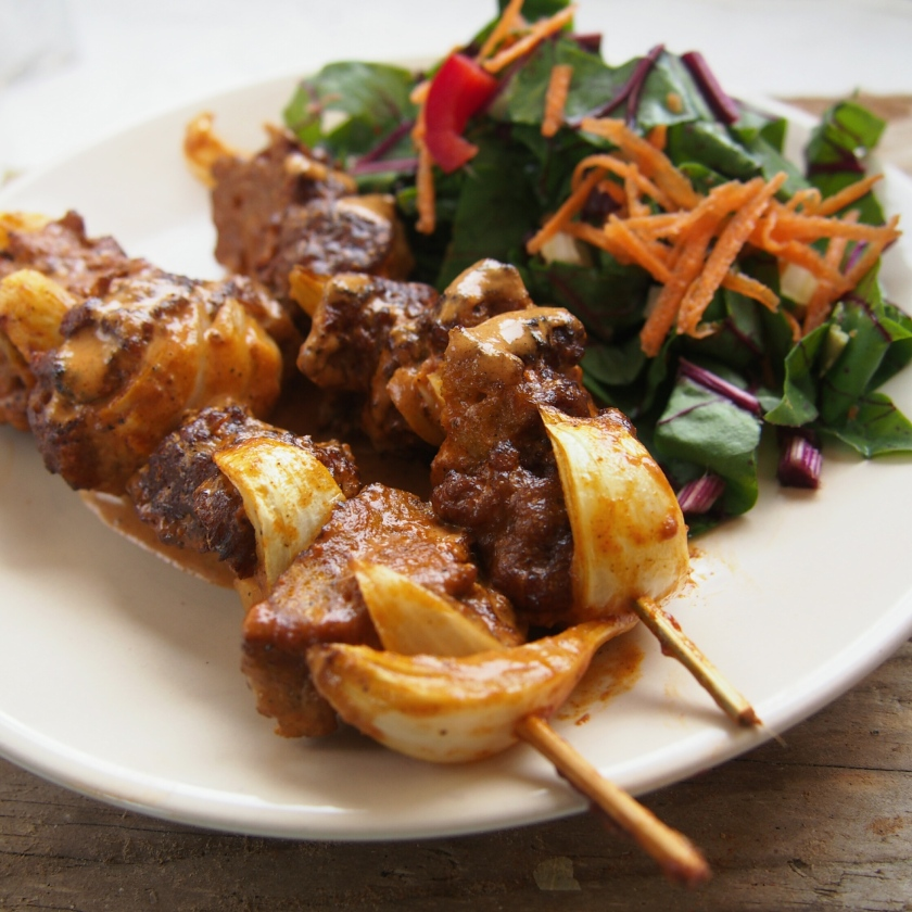 grilled seitan kebabs with a creole spiced coconut sauce