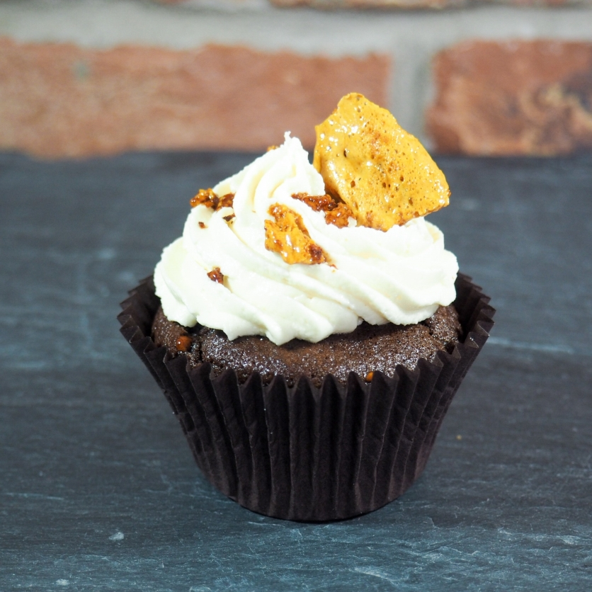 vegan honeycomb cupcake
